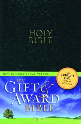 Gift & award bible NIV black leather lik